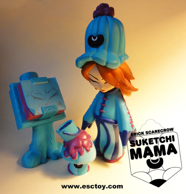 ESC Toy Suketchi Mama Blue Resin Figure Set by Erick Scarecrow - Suketchi Mama, Paint Shroom & Paddopa Sketch Pad