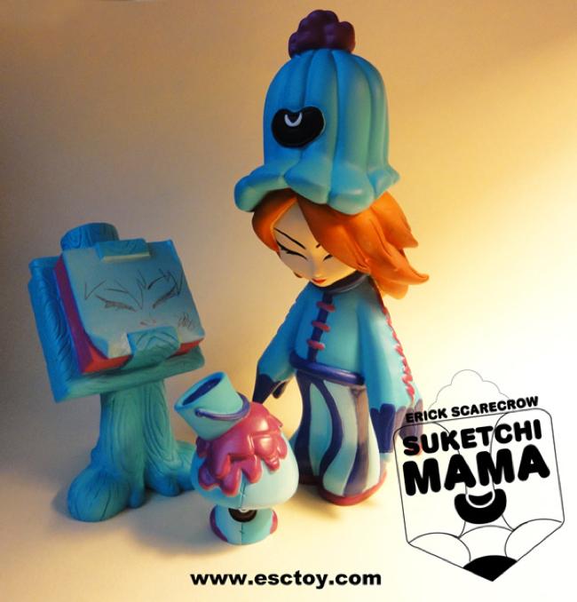 ESC Toy Suketchi Mama Blue Resin Figure Set by Erick Scarecrow - Suketchi Mama, Paint Shroom & Paddopa Sketch Pad